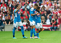 EDINBURGH, SCOTLAND - JULY 28: <br /> Napoli Left Winger, Lorenzo Insigne, is congratulated by teammates after scoring his side's opener during the Pre-Season Friendly match between Liverpool FC and SSC Napoli at Murrayfield on July 28, 2019 in Edinburgh, Scotland. (Photo by MB Media)