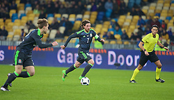 KIEV, UKRAINE - Easter Monday, March 28, 2016: Wales' captain Joe Allen in action against Ukraine during the International Friendly match at the NSK Olimpiyskyi Stadium. (Pic by David Rawcliffe/Propaganda)