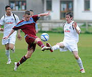 Daragh Duggan Galway United and Anthony Flanagan, Cork Ramblers  in Cappa Park in Knocknacarra, Galway. Photo:Andrew Downes.