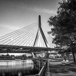Boston Zakim Bunker Hill Bridge at night black and white picture at Paul Revere Park. The Leonard P. Zakim Bunker Hill Memorial Bridge is a cable bridge that spans the Charles River in Boston, Massachusetts in the Eastern United States of America