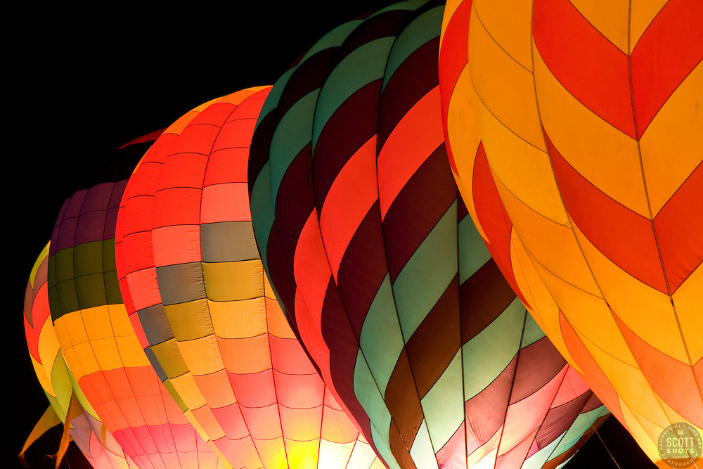 """""""The Dawn Patrol 1""""- These hot air balloons are part of the Glow Show in The Great Reno Balloon Race."""