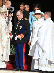 Prince Albert II, Princess Charlene, Princess Caroline and Princess Stephanie The royal family of Monaco leaving the St. Nicholas Cathedral for the beginning of the National Day festivities on November 19th 2019.