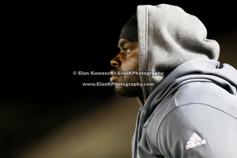 Wynel Seldon #31 of the Boston Brawlers watches the action from the sideline following his injury during the first ever Boston Brawlers home game at Harvard Stadium on October 24, 2014 in Boston, Massachusetts. (Photo by Elan Kawesch)