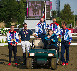Olympic medal-winning equestrians Charlotte Dujardin, Laura Bechtolsheimer, Carl Hester and Richard Davison parade at the British Dressage National Championships 2012, Stoneleigh, Warwickshire, September 15th 2012. Photo by Nico Morgan/ i-Images.