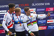 Podium BMX Finals men, Kyle Evans (Great Britain) gold medal, Kye Whyte (Great Britain) silver medal, Sylvain Andre (France) bronze medal during the Cycling European Championships Glasgow 2018, at Glasgow BMX Centre, in Glasgow, Great Britain, Day 9, on August 10, 2018 - Photo luca Bettini / BettiniPhoto / ProSportsImages / DPPI<br /> - Restriction / Netherlands out, Belgium out, Spain out, Italy out -