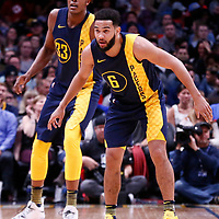 03 April 2018: Indiana Pacers guard Cory Joseph (6) is seen next to Indiana Pacers center Myles Turner (33) during the Denver Nuggets 107-104 victory over the Indiana Pacers, at the Pepsi Center, Denver, Colorado, USA.