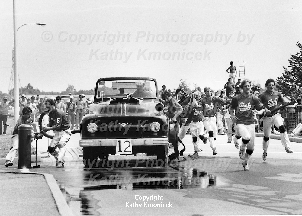The Great Fire Department Alerts Racing Team in action in August of 1982.