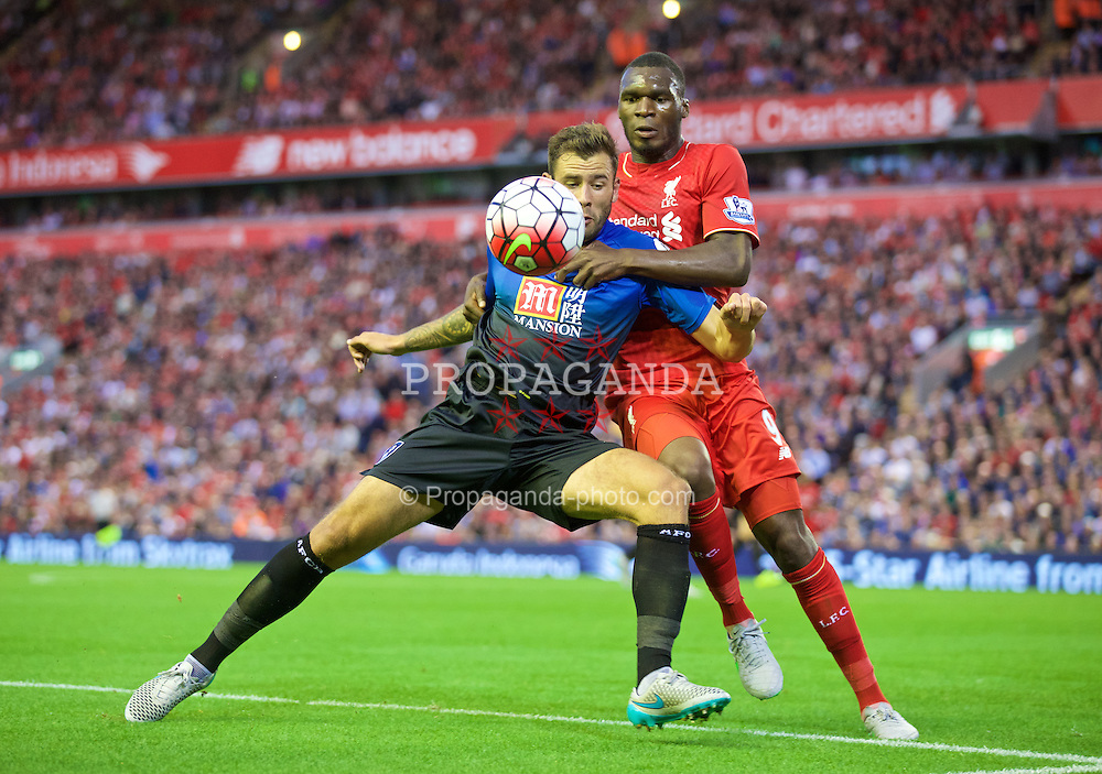LIVERPOOL, ENGLAND - Monday, August 17, 2015: Liverpool's Christian Benteke in action against AFC Bournemouth during the Premier League match at Anfield. (Pic by David Rawcliffe/Propaganda)