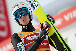 04.01.2015, Bergisel Schanze, Innsbruck, AUT, FIS Ski Sprung Weltcup, 63. Vierschanzentournee, Innsbruck, Finale, 1. Wertungssprung, im Bild Michael Hayboeck (AUT) // Michael Hayboeck of Austria reacts after his first competition Jump for the 63rd Four Hills Tournament of FIS Ski Jumping World Cup at the Bergisel Schanze in Innsbruck, Austria on 2015/01/04. EXPA Pictures © 2015, PhotoCredit: EXPA/Jakob Gruber