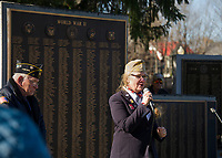 VFW Chaplain Hillary Seeger speaks to the crowd during Veteran's Day services in Laconia Sunday morning.   (Karen Bobotas/for the Laconia Daily Sun)