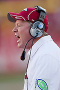 FAYETTEVILLE, AR - SEPTEMBER 25:   Head Coach Bobby Petrino of the Arkansas Razorbacks yells at a referee during a game against the Alabama Crimson Tide at Donald W. Reynolds Stadium on September 25, 2010 in Fayetteville, Arkansas.  The Crimson Tide defeated the Razorbacks 24 to 20.  (Photo by Wesley Hitt/Getty Images) *** Local Caption *** Bobby PetrinoUniversity of Arkansas Razorback 2010-2011 Football Team action photos....©Wesley Hitt.All Rights Reserved.501-258-0920.