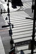 shadow of light post over roadside zebra crossing