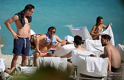 West Ham United players enjoy some time at the pool and on the beach at Fontainebleau Hotel in Miami Beach, Florida. 13 Mar 2018 Pictured: West Ham United Footballers. Photo credit: MEGA TheMegaAgency.com +1 888 505 6342
