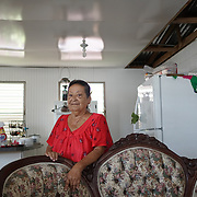 AUGUST 27, 2018--SAN JUAN---PUERTO RICO--<br /> Carmen Milagros Rivera Ortiz, 72, stands in the partially rebuilt house in the Ca&ntilde;o Martin Pe&ntilde;a neighborhood of San Juan. Her niece travels regularly to do a lot of the construction work.<br /> (Photo by Angel Valentin/Freelance)