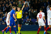 Sevilla midfielder, on loan from Manchester City,  Samir Nasri (10) is sent off and receives a red card from tonights referee Daniele Orsato  during the Champions League round of 16, game 2 match between Leicester City and Sevilla at the King Power Stadium, Leicester, England on 14 March 2017. Photo by Simon Davies.