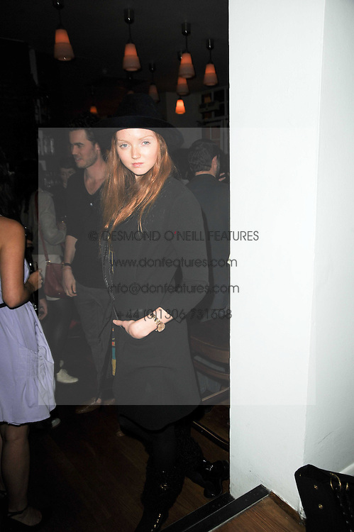 LILY COLE at a party to celebrate the 10th anniversary of Counter Editions the contemporary art website held at Rivington Grill, Shoreditch, London on 5th May 2010.