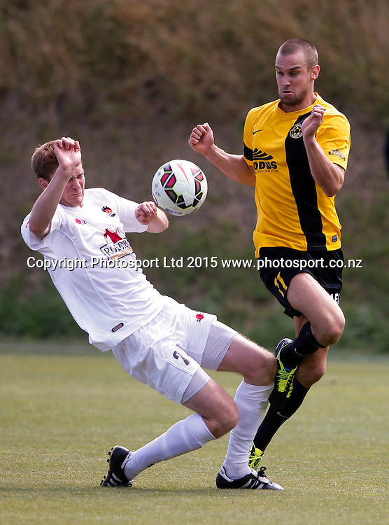 Canterbury's Corey Mitchell challenges Michael Gwyther. ASB Premiership Football - Wellington v Canterbury, 08 February 2015, , Wellington, New Zealand. Photo: John Cowpland / www.photosport.co.nz