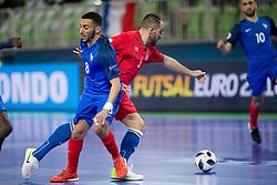 Azdine Aigoun of France and Bolinha of Azerbaijan during futsal match between France and Azerbaijan at Day 4 of UEFA Futsal EURO 2018, on February 2, 2018 in Arena Stozice, Ljubljana, Slovenia. Photo by Urban Urbanc / Sportida