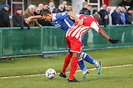 Frank Sinclair of Brackley Town (right)  and Jake Reed of Lowestoft Town during the Conference North match at St. James Park, Brackley<br /> Picture by David Horn/Focus Images Ltd +44 7545 970036<br /> 24/01/2015