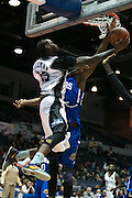 Gabe Freeman of the Razorsharks leaps for a basket during a game against the Carolina Vipers at the Blue Cross Arena on Saturday, December 6, 2014.