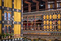 PARO, BHUTAN - CIRCA October 2014: Architectural detail inside the Paro Rinpung Dzong, a landmark in Paro, Bhutan