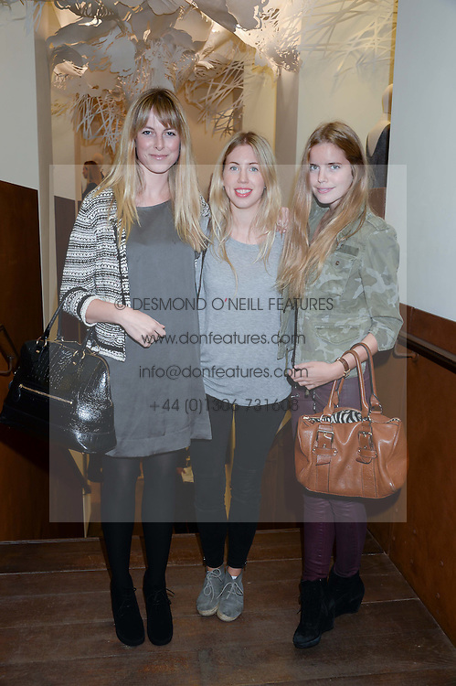 Left to right, LUCIA RUCK KEENE, CHARLOTTE GOODWIN and KATIE READMAN at a preview evening of the Leon Max Autumn Winter Collection 2013 held at Leon Max, 229 Westbourne Grove, London W11 on 24th September 2013.