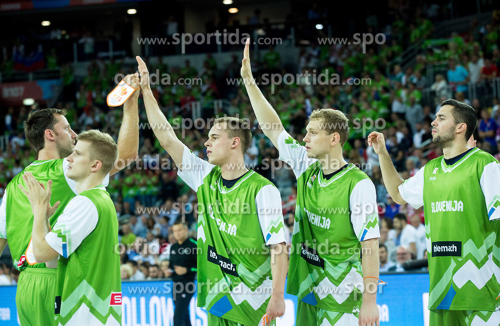 Sasa Zagorac, Luka Rupnik, Klemen Prepelic, Jaka Blazic of Slovenia during basketball match between Croatia and Slovenia at Day 1 in Group C of FIBA Europe Eurobasket 2015, on September 5, 2015, in Arena Zagreb, Croatia. Photo by Vid Ponikvar / Sportida