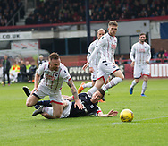 Ross County's Craig Curran brings down Dundee&rsquo;s Cammy Kerr for the penalty from which the Darlk Blues scored the equaliser Dundee v Ross County, in the Ladbrokes Scottish Premiership at Dens Park, Dundee, Photo: David Young<br /> <br />  - &copy; David Young - www.davidyoungphoto.co.uk - email: davidyoungphoto@gmail.com