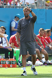 July 22, 2018 - Charlotte, NC, U.S. - CHARLOTTE, NC - JULY 22: ManagerJurgen Klopp of Liverpool gives direction to his team during the International Champions Cup soccer match between Liverpool FC and Borussia Dortmund in Charlotte, N.C. on July 22, 2018.  (Photo by John Byrum/Icon Sportswire) (Credit Image: © John Byrum/Icon SMI via ZUMA Press)