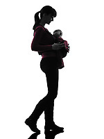 one  woman mother walking baby silhouette on white background