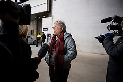 © Licensed to London News Pictures. 08/01/2018. London, UK. Former China editor for the BBC, CARRIE GRACIE  seen talking to media as she leaves BBC broadcasting House in London. CARRIE GRACIE resigned form her post as China editor and wrote an open letter to licence fee payers   in protest over unequal pay between men and women at the broadcasting corporation. Photo credit: Ben Cawthra/LNP