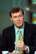 British journalist Andrew Morton, discusses his recent book Monica's Story, written with former intern Monica Lewinsky, during the Sunday political talk show, Meet the Press, on NBC-TV March 7, 1999 in Washington, DC.