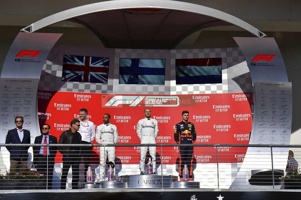 November 3, 2019, Austin, United States of America: Motorsports: FIA Formula One World Championship 2019, Grand Prix of United States, ..James Allison (Mercedes AMG Petronas Motorsport), #44 Lewis Hamilton (GBR, Mercedes AMG Petronas Motorsport), #77 Valtteri Bottas (FIN, Mercedes AMG Petronas Motorsport), #33 Max Verstappen (NLD, Aston Martin Red Bull Racing) (Credit Image: © Hoch Zwei via ZUMA Wire)