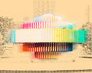 Israel, Tel Aviv The Kinetic fire and water fountain by Yaacov Agam at Dizengoff square. Digitally enhanced