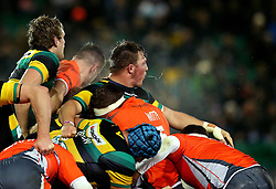 Steam rises out of the maul between the Northampton Saints and Newcastle Falcons packs as Alex Waller of Northampton Saints spits - Mandatory by-line: Robbie Stephenson/JMP - 25/11/2016 - RUGBY - Franklin's Gardens - Northampton, England - Northampton Saints v Newcastle Falcons - Aviva Premiership