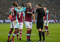 Football - 2016 / 2017 FA Cup - Third Round: West Ham United vs. Manchester City <br /> <br /> Winston Reid of West Ham pushes Angelo Ogbonna out the way after he complains about the penalty decision at The London Stadium.<br /> <br /> COLORSPORT/DANIEL BEARHAM
