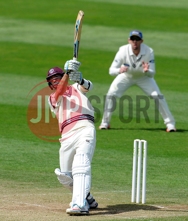 Somerset's Tim Groenewald hits the ball. Photo mandatory by-line: Harry Trump/JMP - Mobile: 07966 386802 - 11/05/15 - SPORT - CRICKET - Somerset v New Zealand - Day 4 - The County Ground, Taunton, England.