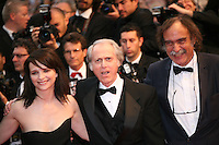 Actress Juliette Binoche, writer Don Dellilo and Paulo Branco at the Cosmopolis gala screening at the 65th Cannes Film Festival France. Cosmopolis is directed by David Cronenberg and based on the book by writer Don Dellilo.  Friday 25th May 2012 in Cannes Film Festival, France.