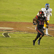 21 October 2016: The San Diego State Aztecs football team takes on the San Jose State Spartans Friday night at Qualcomm Stadium. San Diego State running back Rashaad Penny (20) rushes for a 73 yard touchdown run in the third quarter. The Aztecs beat the Spartans 42-3 to extend there home win streak. www.sdsuaztecphotos.com