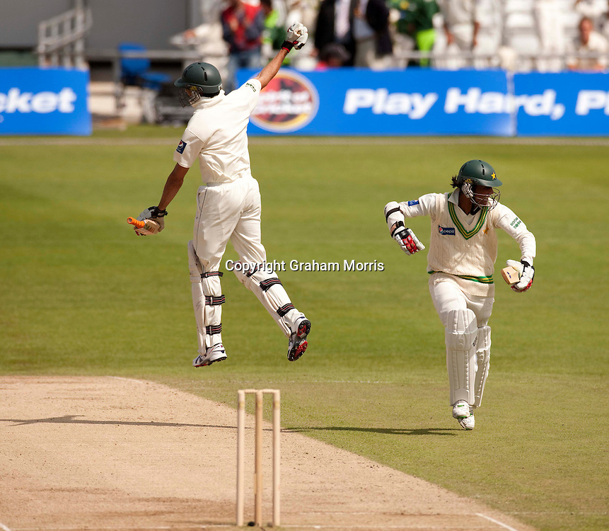 Umar Gul (left) and Mohammad Amir celebrate winning the second MCC Spirit of Cricket Test Match between Pakistan and Australia at Headingley, Leeds.  Photo: Graham Morris (Tel: +44(0)20 8969 4192 Email: sales@cricketpix.com) 24/07/10