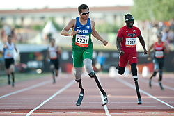 OLIVEIRA Alan Fonteles, LEEPER Blake, BRA, USA, 400m, T44, 2013 IPC Athletics World Championships, Lyon, France