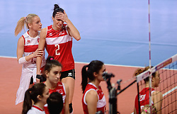 09-01-2016 TUR: European Olympic Qualification Tournament Turkije - Italie, Ankara<br /> De strijd om de tweede Japan ticket wordt gewonnen door Italie. Turkije verliest in de 5de set met 13-15 / Kubra Akman #5 of Turkey, Naz Aydemir Akyol #11 of Turkey, Gozde Kirdar #2 of Turkey