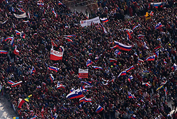 Spectators during Flying Hill Individual Trial Round at 3rd day of FIS Ski Flying World Championships Planica 2010, on March 20, 2010, Planica, Slovenia.  (Photo by Vid Ponikvar / Sportida)