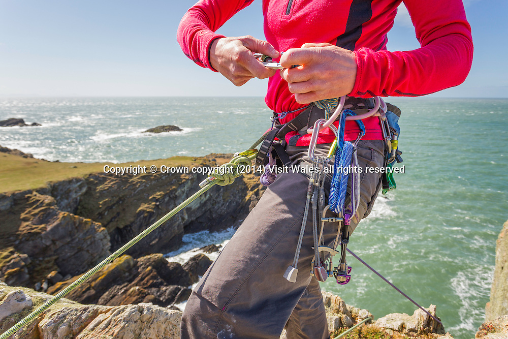 Female climber reaching top of sea cliff<br /> Rock Climbing<br /> Rhoscolyn<br /> Holy Island<br /> Anglesey<br /> North<br /> Adventure<br /> Activities and Sports