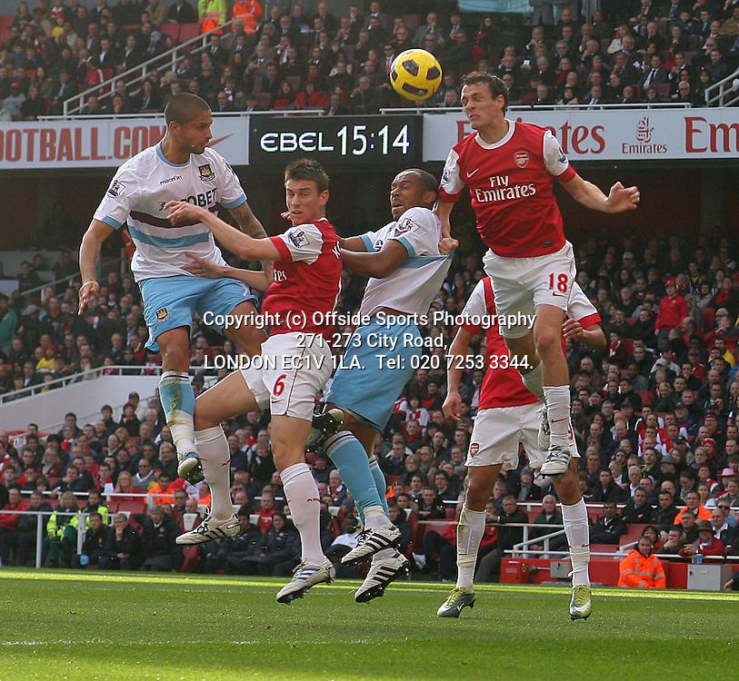 30/10/2010 Premier League football. Arsenal v West Ham United.<br /> Laurent Koscielny (6) and Sebastien Squillaci defend for Arsenal.<br /> Photo: Mark Leech.