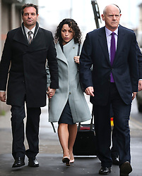 © Licensed to London News Pictures. 06/01/2016. Croydon, UK. Former Chelsea team doctor EVA CARNEIRO (centre) arrives at Croydon Employment Tribunal with her husband JASON DE CARTERET (left). Carneiro is claiming constructive dismissal against Chelsea football club. Photo credit: Peter Macdiarmid/LNP