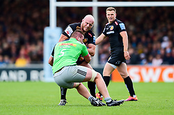 Jack Yeandle of Exeter Chiefs is tackled by Stan South of Harlequins - Mandatory by-line: Ryan Hiscott/JMP - 27/04/2019 - RUGBY - Sandy Park - Exeter, England - Exeter Chiefs v Harlequins - Gallagher Premiership Rugby