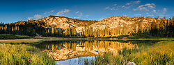 """Mud Lake Morning 2"" - Panoramic photograph shot in the early morning of Mud Lake in California's Plumas National Forest."