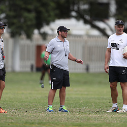 Alan Basson - Zondagh (Skills Coach) of the Cell C Sharks with Jaco Pienaar (Assistant Coach) of the Cell C Sharks and Nicholas Easter (Assistant Coach) of the Cell C Sharks during the Cell C sharks training at Jonsson Kings Park ,Durban.South Africa. 08,10,2018 (Photo by Steve Haag)