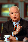 Senator John McCain discusses the situation in Kosovo during NBC's Meet the Press April 11, 1999 in Washington, DC.